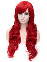 The New Cartoon Color Wig Bright  Red  Inclined Bang Curly Hair Wigs