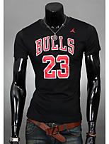 Men's Casual/Work/Sport Print Short Sleeve Regular T-Shirts (Cotton)