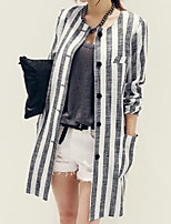 Women's Striped Blazer , Casual/Work Round Neck Long Sleeve