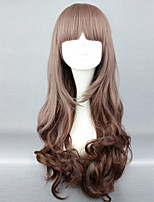 The New Wig Anime Characters Long Curly Wig Dark Grey Dark Brown Gradient Neat Bang Hair Wigs