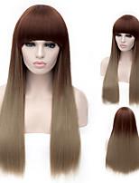 The New Cartoon Color Wig Brown Gradient Liu Hai Chang Straight Hair Wigs