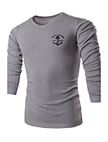 Men's Solid Casual / Work Pullover,Cotton / Polyester Long Sleeve Blue / White / Gray