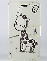 Cartoon giraffe PU Leather Full Body Wallet Protective Case with Stand and Card Slot For Sony Xperia M2 S50H