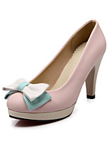 Women's Shoes PU Summer/ Round Toe Heels Office & Career / Casual Stiletto Heel Bowknot Blue / Pink / White / Beige