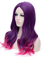 The New Cartoon Color Wig  Purple Gradient Curly Hair Wigs