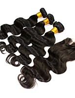 4PCS/Lot Malaysian Virgin Hair Natural Black Color Body wave Closure with Wefts Malaysian Body Wave Hair Bundles