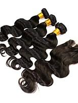 4pcs / lot cabelo virgem natural, preto corpo encerramento malaio onda com tramas madeixas de cabelo onda corpo malaio