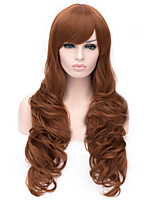The New Cartoon Color Wig Dark Drown Inclined Bang Curly Hair Wigs