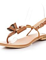 Women's Shoes Leather Flat Heel Open Toe Sandals Outdoor/Dress/Casual White/Beige