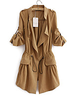Women's Casual/Daily Simple Trench Coat,Solid / Patchwork Shirt Collar Summer Blue / Pink / Beige / Brown Cotton Medium