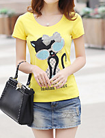 Women's Vintage Sexy Casual Print Cute Party Micro Elastic Short Sleeve Regular T-shirt (Cotton)