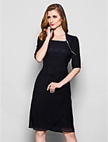 Women's Wrap Shrugs Half-Sleeve Chiffon Black Wedding / Party/Evening Wide collar Beading Open Front