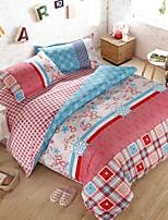 tecido grosso floral rosa lixada para o conjunto de outono / inverno de 4pcs queen / twin size