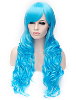 The New Cartoon Color Wig  light Blue Inclined Bang Curly Hair Wigs