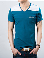 Men's Korean Fashion Spell V Collar Slim Short Sleeved T-Shirts