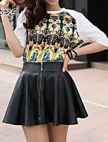 Women's Vintage/Sexy/Beach/Casual/Cute Above Knee Skirts , Spandex/Polyester/Acrylic Micro-elastic