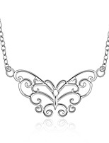 Classic Butterfly Shape Silver Plated Copper Hollow Foreign Trade Necklace(Silver)(1Pc)