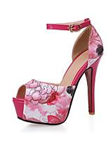 Women's Shoes Stiletto Heel Heels/Peep Toe/Platform/Round Toe Sandals Office & Career/Dress/Casual Blue/Red