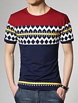 Katoen/Spandex - Print - Heren - T-shirt - Informeel/Grote maten - Korte mouw
