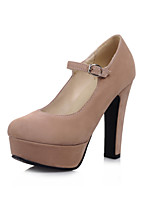 Women's Spring / Summer / Fall Heels / Round Toe / Comfort PU Office & Career / Dress / Casual Chunky Heel Buckle Black / Pink / Almond
