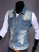 Men's Fashion Personality Frayed Slim Fit Washed Denim Vest,Cotton/Fashion/Jeans