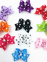 Colorful Spot Tiny Rubber Band Hair Bow for Dogs Cats(Assorted Colors)