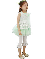 Summer Kids Girl's Round Collar Lace Sleeveless Vest Party Dresses with Pear Necklace (Cotton Blends)