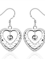 Concise Silver Plated Sweet Hollow Heart Shape Dangle Earrings for Party Women Jewelry Accessiories