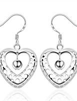 Brincos dangle Cristal Coração Prata Chapeada Formato de Coração Forma Geométrica Prata Jóias Para Casamento Festa Halloween Diário Casual