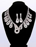 Fashion Women's Paisley Metal Rhinestone Necklace&Ring Set