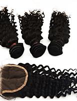 3pcs / lot 10 '' - 28 '' 5a # 1b cheveux cheveux indiens remy vierge non transformés extensions de cheveux naturels d'ondes noir profond