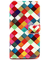 Rainbow lattice  Pattern PU Leather Purse Stand Function Holster Case for LG G4