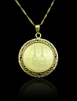 18K Golden Plated Allah Muslim Mosque Hollow Out Pendant Necklace