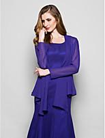 Women's Wrap Coats/Jackets Long Sleeve Chiffon Regency Wedding / Party/Evening Wide collar Ruffles Open Front