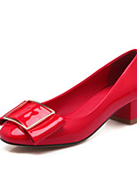 Women's Shoes Chunky Heel Round Toe Pumps Dress Black/Red/White