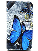 Blue Butterfly  Pattern PU Leather Case with Magnetic Snap and Card Slot for Nokia Lumia 630
