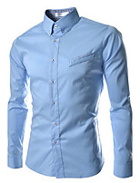 Men's Long Sleeve Shirt , Cotton Blend Casual/Work Pure