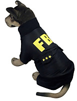 Black Cotton FBI Styles Coats For Dogs