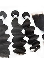 3pcs / lot 10 '' - 28 '' 5a # 1b cheveux cheveux indiens remy vierge extensions de cheveux non traités vague naturelle lâche vague brut