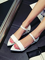 Women's Shoes Faux Fur Flat Heel Pointed Toe Sandals Office & Career/Dress Black/Pink/White