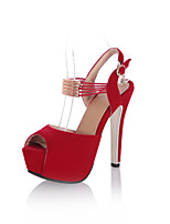 Women's Shoes Stiletto Heel Peep Toe/D'Orsay & Two-Piece Sandals Office & Career/Dress Black/Red
