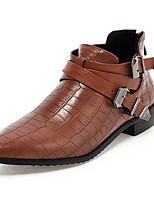 Chaussures Femme - Habillé - Noir / Marron / Rouge - Talon Bas - Bout Pointu - Talons / Richelieu - Similicuir