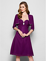 Women's Wrap Shrugs 3/4-Length Sleeve Chiffon Grape Wedding / Party/Evening / Casual Scoop  Beading Open Front