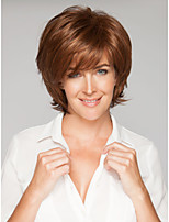 Woman's Brown Color Straight Short Synthetic Mix Wigs