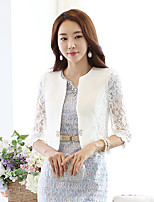 Women's Casual Work Thin Sleeve Short Blazer (Lace)