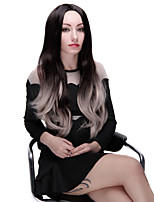 Ombre Black and Gray Heat Resistant Fiber Synthetic Wig 28 Inch Fashion Long Wave with Full Bangs