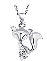 925 Silver Fox Pendant Chain Necklace With Cubic Zirconia