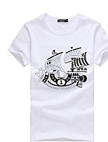 Men's Short Sleeve T-Shirt , Cotton Blend Casual/Sport Print