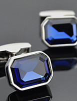 Toonykelly Fashion Men's Silver Copper Blue Crystal Party Cufflink Button(1 Pair)