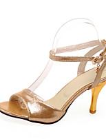 Calçados Femininos-Sandálias-Saltos / Peep Toe-Salto Agulha-Roxo / Prateado / Dourado-Courino-Casual